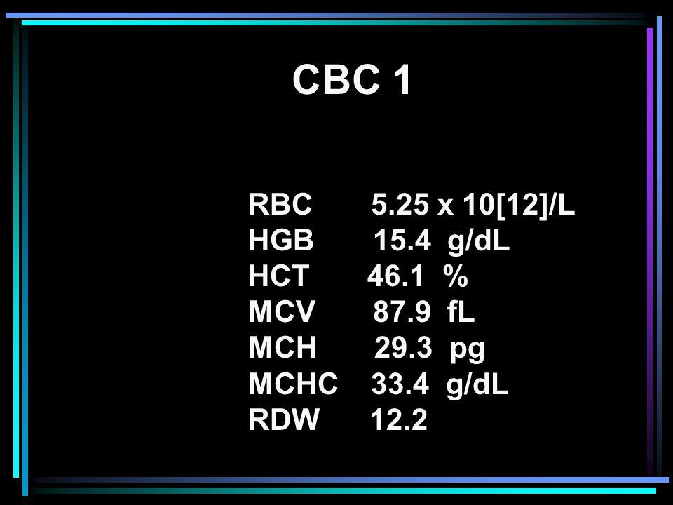 CBC 1 RBC 5.25 x 10[12]/L HGB 15.4 g/dL HCT 46.1 % MCV 87.9 fL